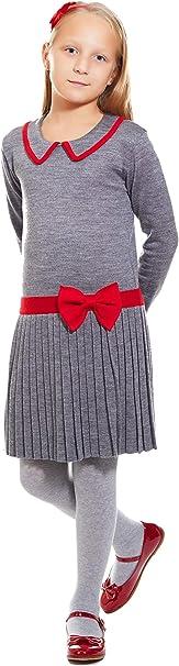 ArteMio Vestido niña de Punto Elegante Color Gris Bordado Rojo ...