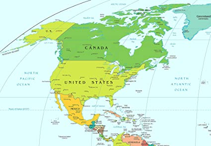Amazon.com: Home Comforts Laminated Map - American Continent ...