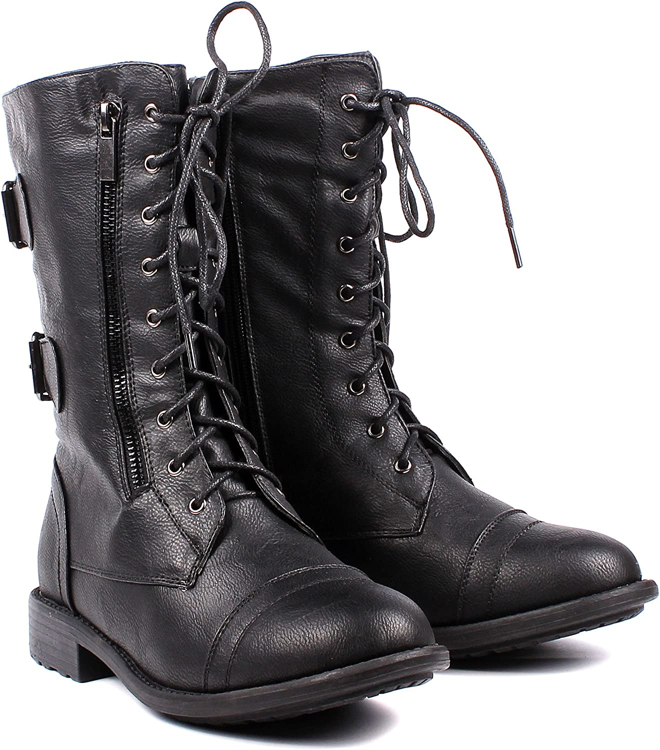 Fashion Buckle Lace up Womens Combat Military Boots Zip Faux Leather Womens Mid-Calf Boots Winter Shoes