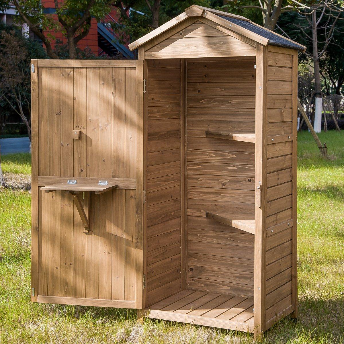 Amazon.com : Leisure Zone Outdoor Wooden Garden Shed Lockers Fir ...
