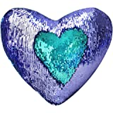 "Play Tailor Mermaid Throw Pillow with Insert Reversible Sequins Pillow Heart Shape Decorative Cushion(13"" x 15"",Bright Green+Bright Purple)"