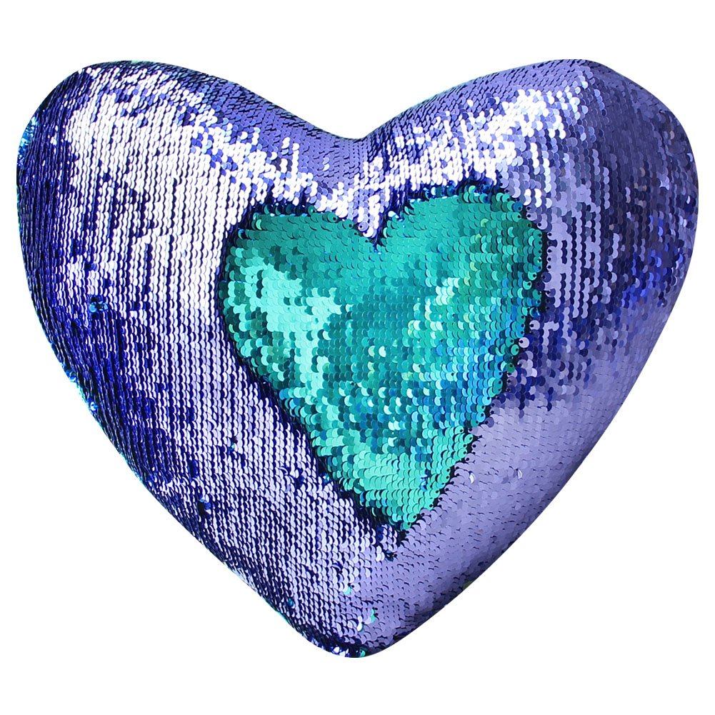 Mermaid Throw Pillow with Insert , Play Tailor Reversible Sequins Pillow Heart Shape Decorative Cushion(13'' x 15'',Bright Green+Bright purple) by Play Tailor