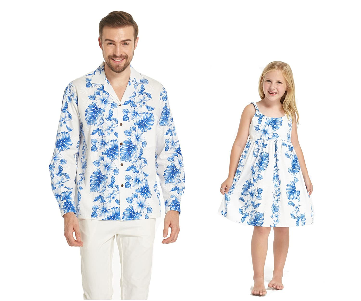 Made in Hawaii Matching Father Daughter Long Sleeve Shirt Elastic Strap Dress in Blue Floral in White at Amazon Mens Clothing store: