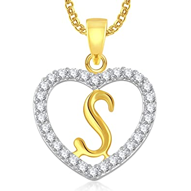 Buy Meenaz Jewellery Gold Plated  s  Letter Pendant For Girls Women Men  Unisex With Chain In American Diamond Pendant For Women Online at Low  Prices in ... c21e5085387e5