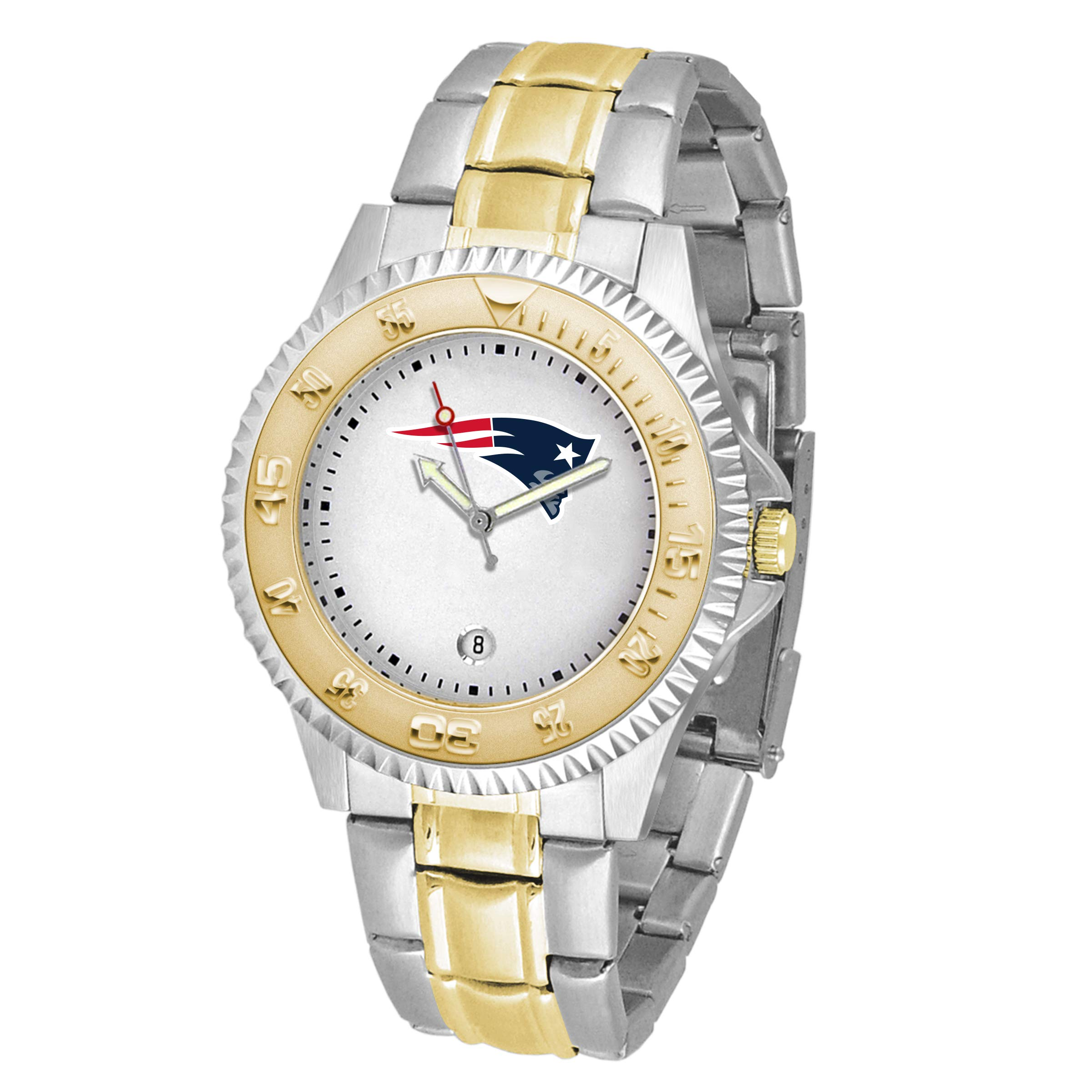 Game Time NFL New England Patriots Mens Two-Tone CompetitorWrist Watch, White, One Size