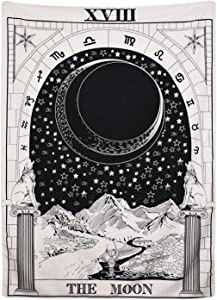 "BLEUM CADE Tarot Tapestry The Moon The Star The Sun Tapestry Medieval Europe Divination Tapestry Wall Hanging Tapestries Mysterious Wall Tapestry for Home Decor (The Moon, 51""×59"")"