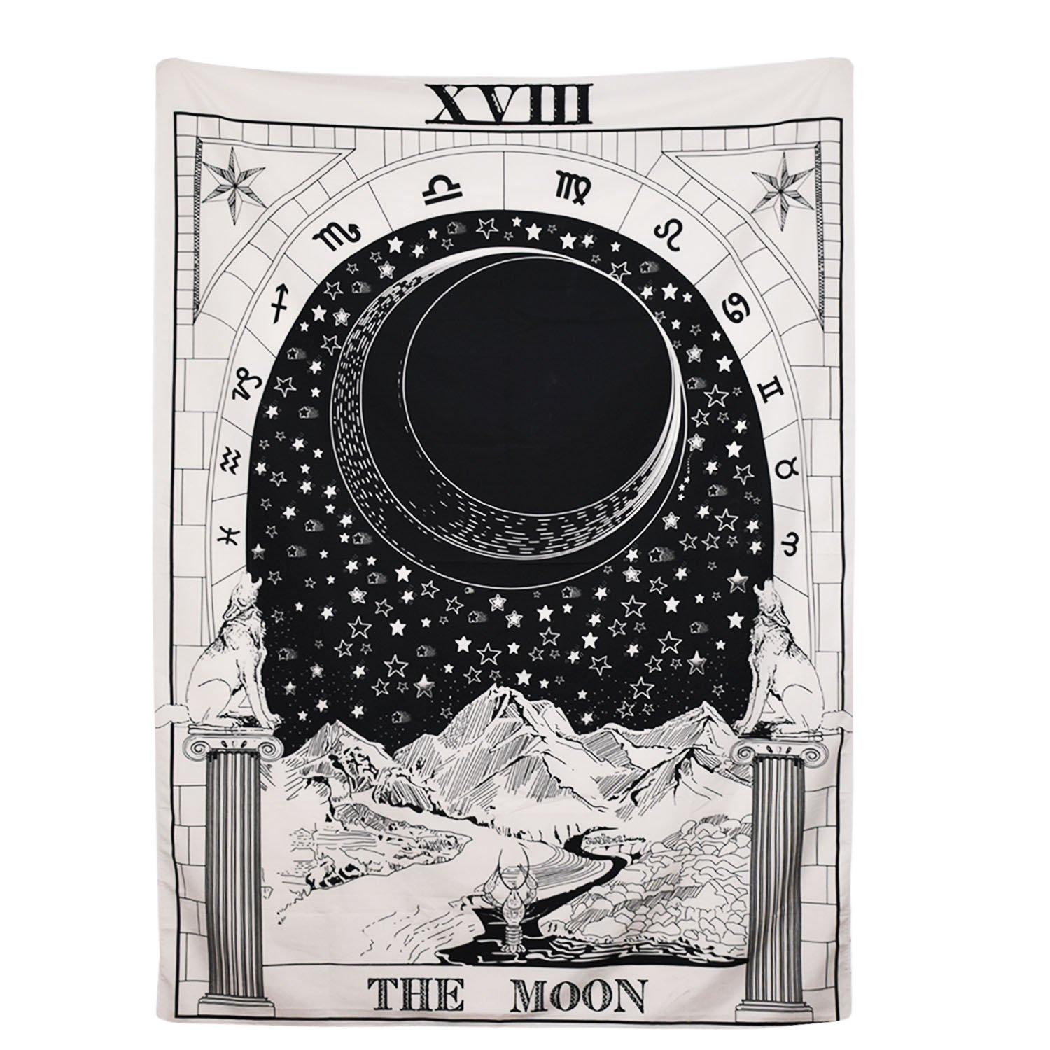 BLEUM CADE Tarot Tapestry The Moon The Star The Sun Tapestry Medieval Europe Divination Tapestry Wall Hanging Tapestries Mysterious Wall Tapestry for Home Decor (51''×59'', The Moon) by BLEUM CADE