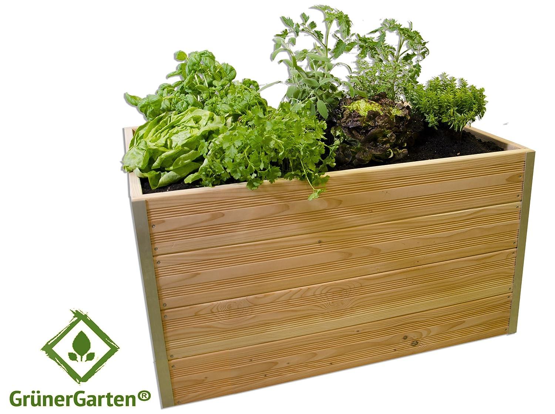 Premium Bio Hochbeet GRÖN-Pflanzbeet GrünerGarten® - Holz, schadstofffrei, ohne Chemie, LxBxH ca. 100x75x55 cm