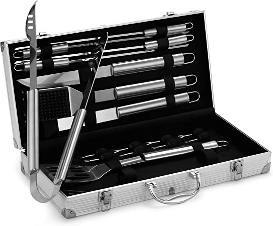 BBQ Barbecue Tool Set Grill Grilling Tools Accessory Stainless Steel 18 Pieces