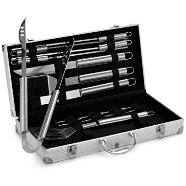 VonHaus BBQ Grill Tool Set,18-Piece Stainless Steel Barbecue Grilling Utensil Accessories Storage Case, Tongs, Spatula, Knife, Fork, Wire Brush, Basting Brush - Ideal BBQ Gift