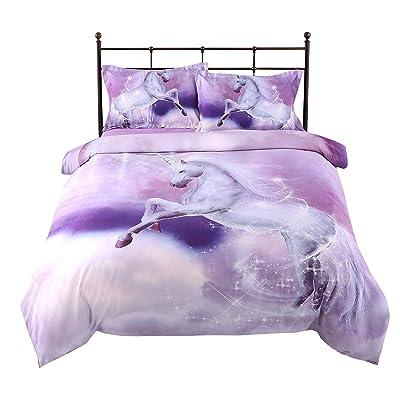 ENCOFT Kids 3D Lovey Purple Unicorn Bed Comforter Set Boys Girls Tencel Cotton Twin Size 3 Pieces (1 Comforter 2 Pillowcases) Bedding Quilt Sets Warm Loft Bedspreads: Home & Kitchen