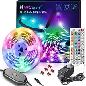 Nexillumi 16.4 Foot LED Strip Lights with Remote Music Sync LED Lights for Bedroom Color Changing SMD5050 RGB LED Strip Lights