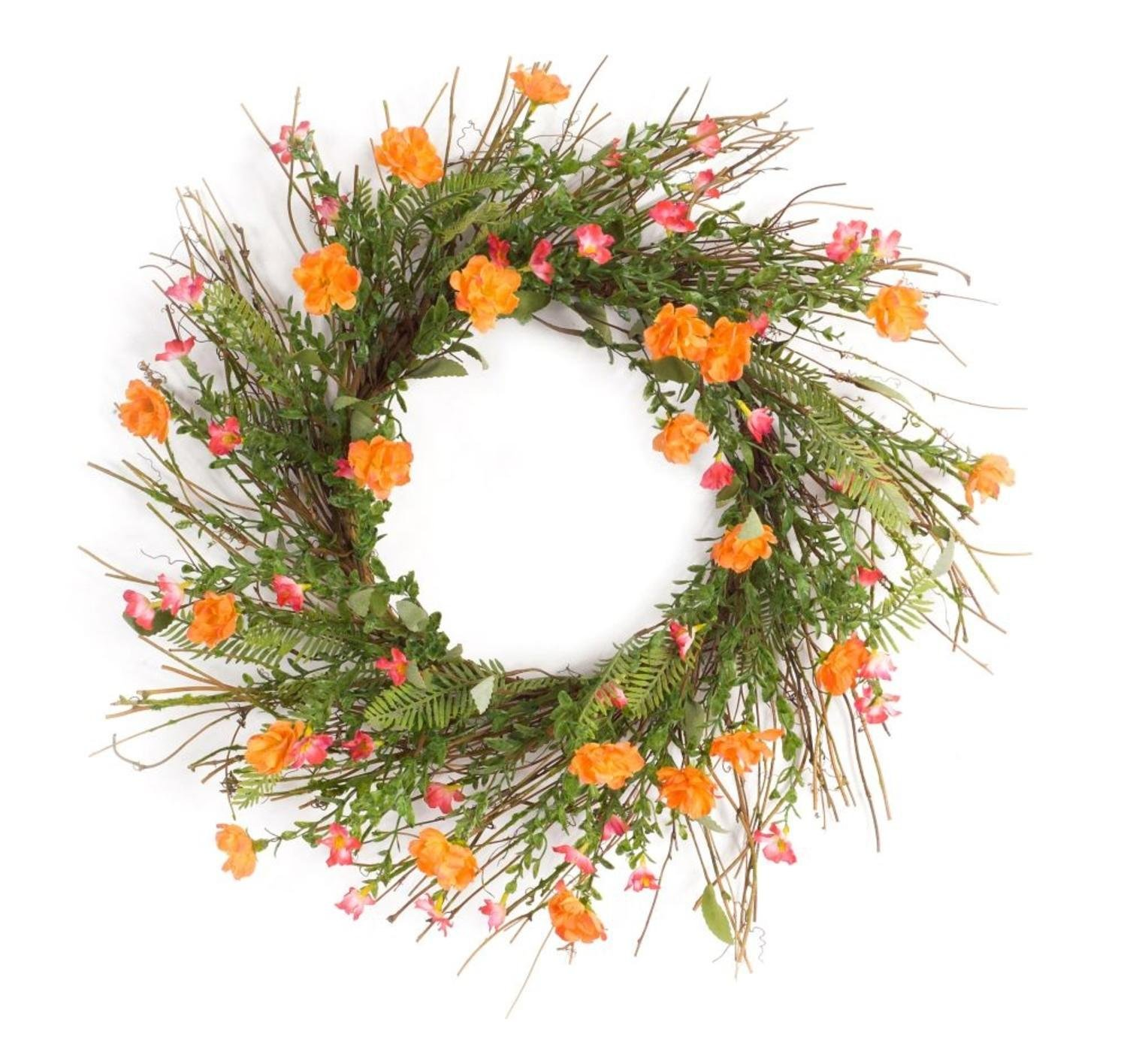 """Pack of 2 Springtime Orange and Pink Artificial Moss Rose Wreaths 26"""""""