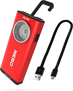 NEBO Rechargeable Flashlights High Lumens: 500-Lumen LED Flash Light Equipped With Dimming and Power Memory Recall; Featuring A Pocket Clip, Hanging Hook and Magnetic Base - NEBO SLIM 6694 Red