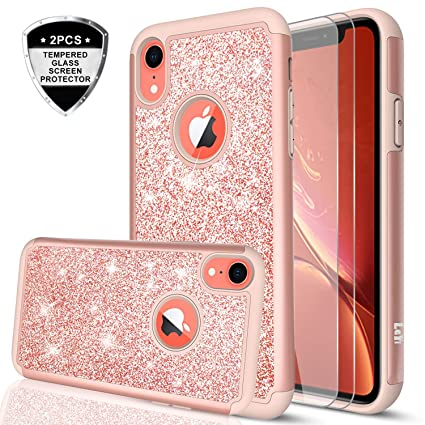 taglia 40 13c97 6ba70 iPhone XR Case with Tempered Glass Screen Protector [2 Pack] for Girls  Women, LeYi Glitter Bling Sparkle Cute Coral Protective Phone Cover Cases  for ...