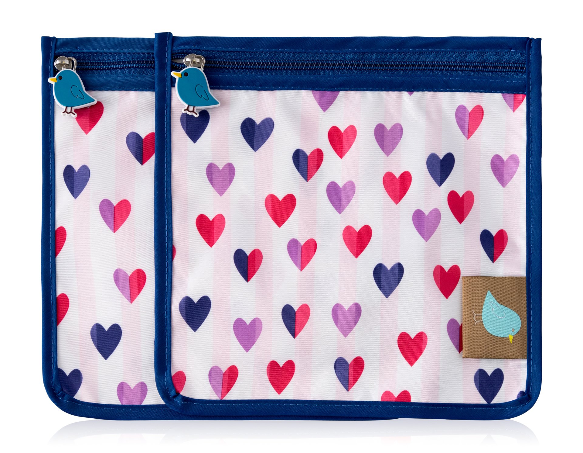 Jaq Jaq Bird Reusable Snack Pouch: Set of 2 (Hearts)