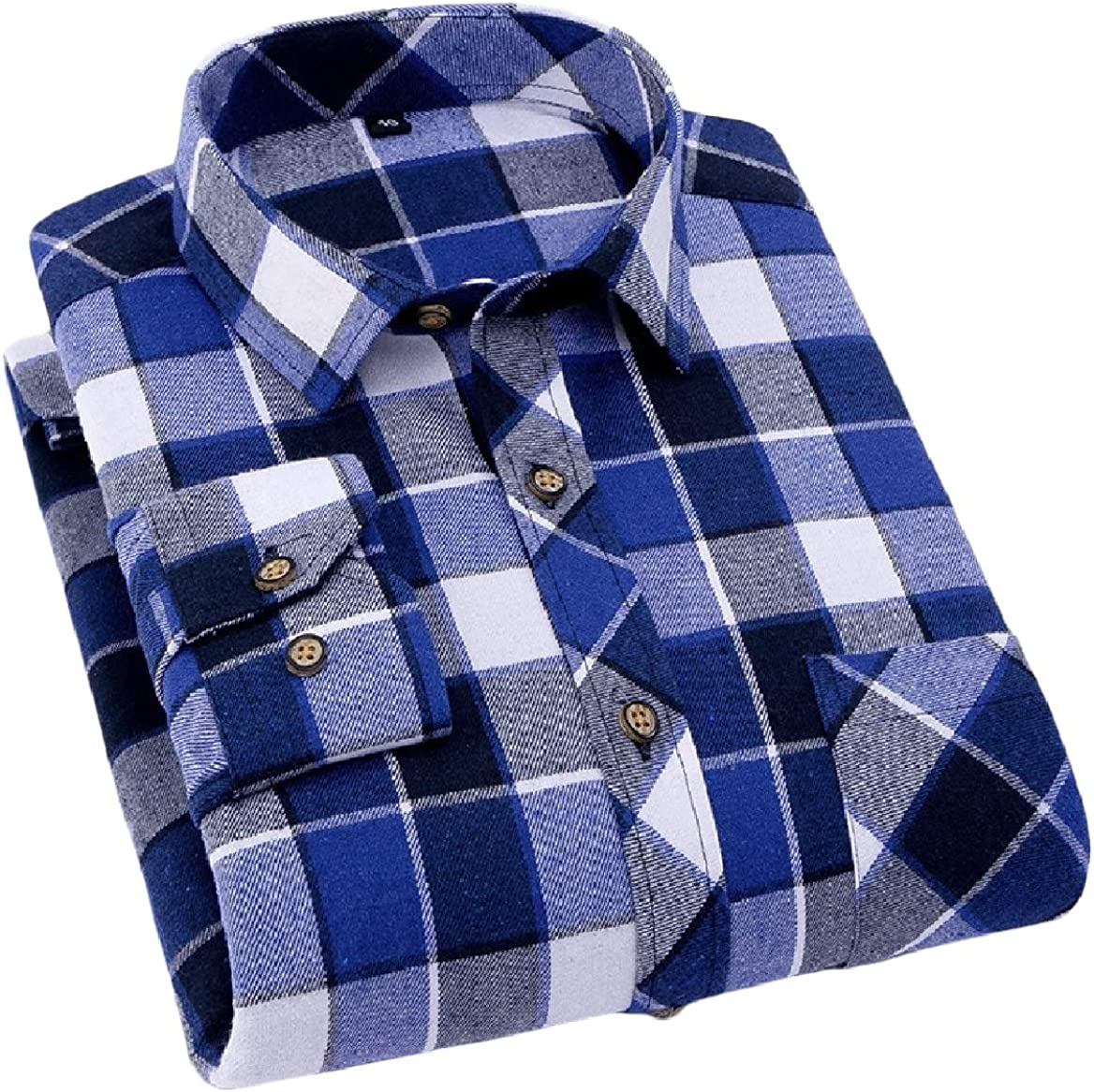 SayahMen Plaid Regular-Fit Spring//Fall Square Collor Long-Sleeve Western Shirt
