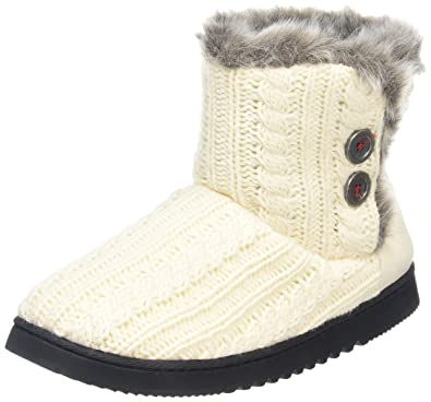 46ba0d883f5 Dearfoams Women's Cable Knit Two-Button Boot Hi-Top Slippers