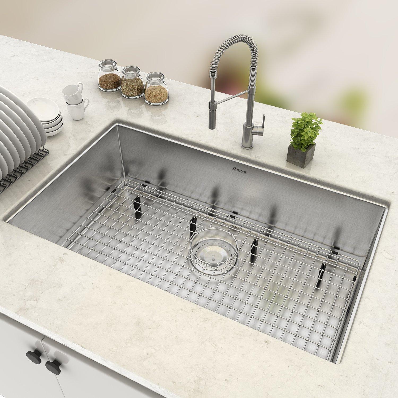 Homdox 16 Gauge 28'' Undermount Stainless Steel Kitchen Sink Single Bowl, 28''L x 18''W x 10'' H