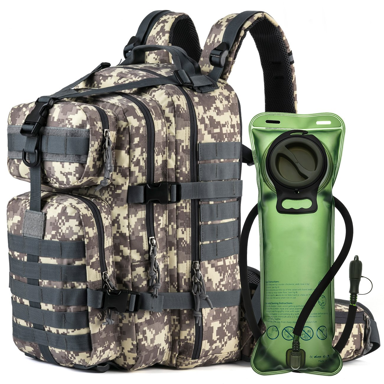 MIRACOL Military Tactical MOLLE Bug Out 3 Day Assault Pack 33L Backpack for Outdoor Travel, Camo by MIRACOL
