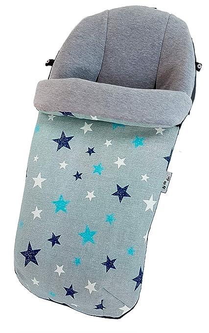 Saco Universal para carro o silla de paseo – Interior en punto gris – Exterior en Tejido loneta Estrellas Marino