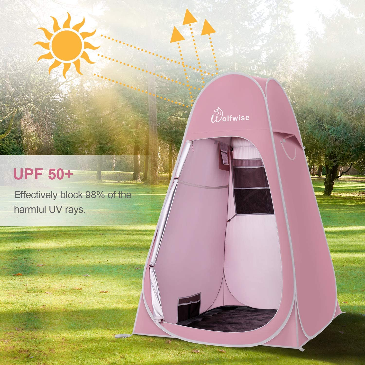 WolfWise Portable Pop Up Privacy Shower Tent Spacious Changing Room for Camping Hiking Beach Toilet Shower Bathroom: Sports & Outdoors