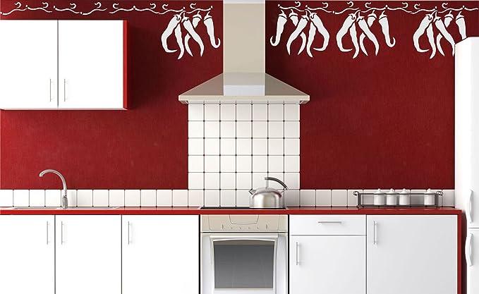 Chili Pepper plantilla – reutilizable de pared plantillas para pintar – mejor calidad verduras cocina diseño de Ideas – uso en paredes, suelos, tejidos, cristal, madera, terracota, y más..., large: Amazon.es: Hogar