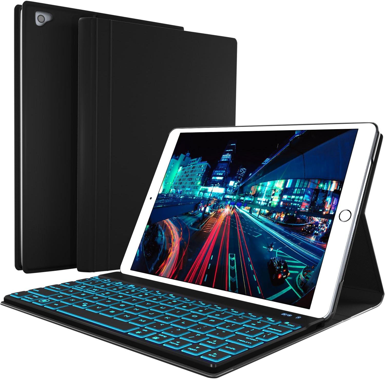 iPad Keyboard Case for New 2018 iPad, 2017 iPad, iPad Pro 9.7, iPad Air 1 and 2 - BT Backlit Detachable Quiet Keyboard - Slim Leather Folio Cover - 7 Color Backlight - Apple Tablet (9.7, Black)