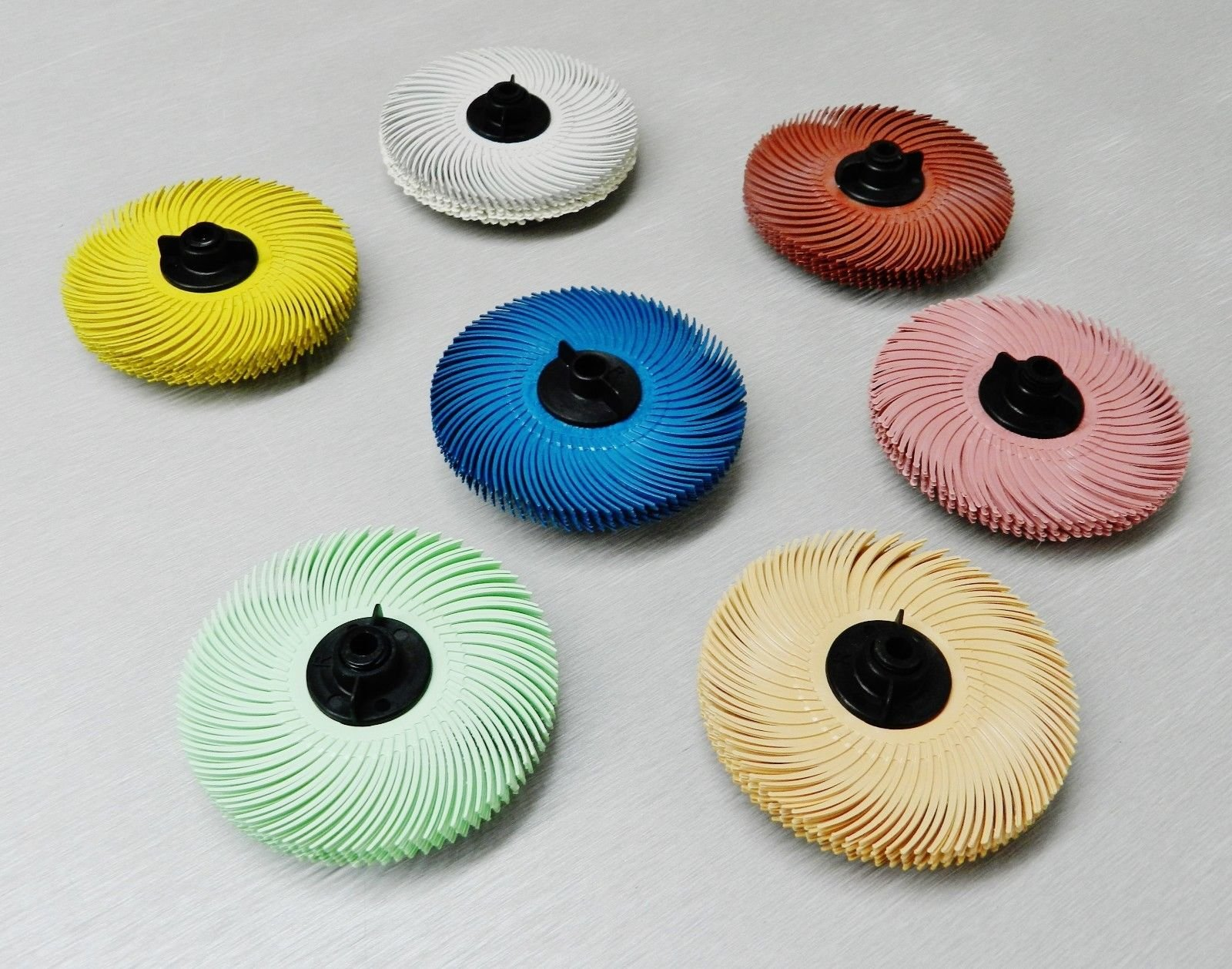 3M Radial Bristle Disc Brush 3'' Set of All 7 Grades 6-PLY with Hubs Assortment by NOVELTOOLS (Image #3)