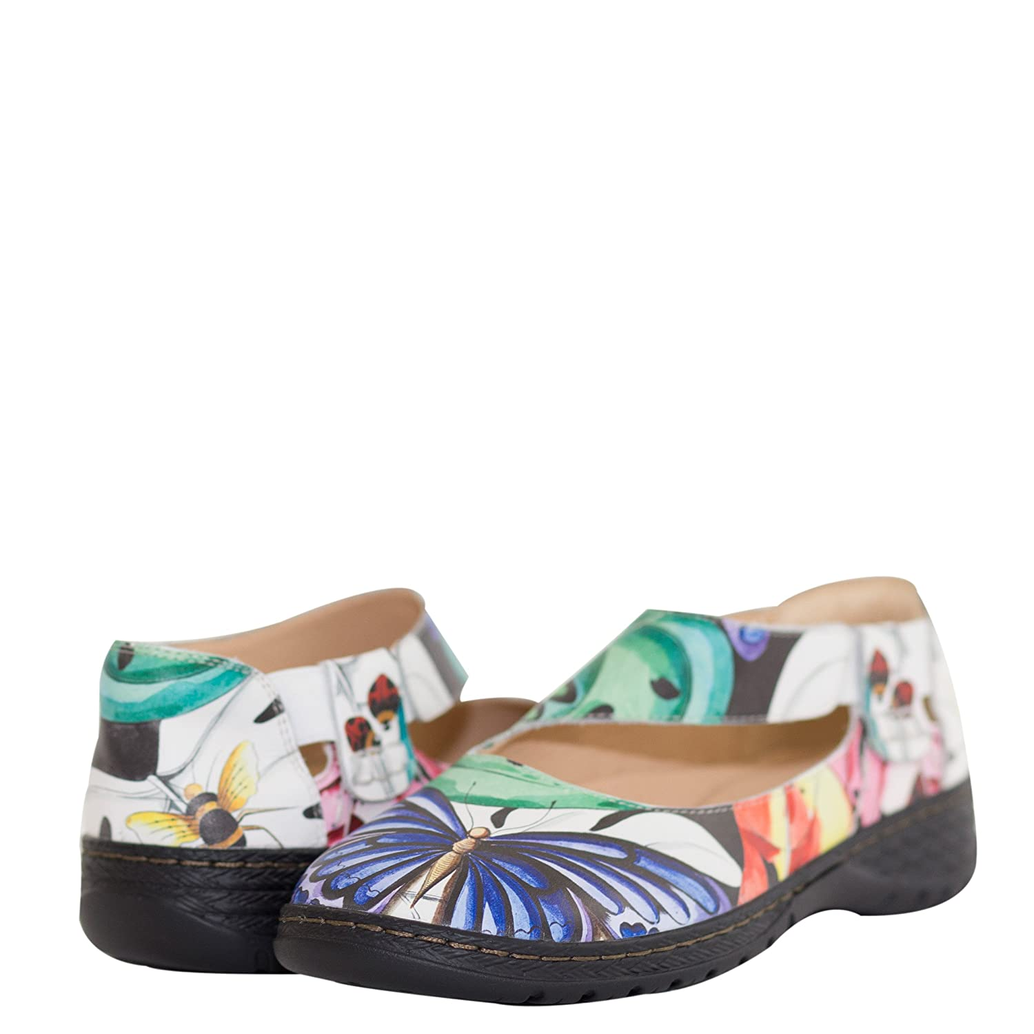 Anuschka Women's Mita Printed Leather Mary Jane,Lovely Leaves B07DB9CX85 US Size 6|Lovely Leaves