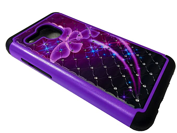 the latest 878d4 15ff0 For Alcatel One Touch PIXI Glory LTE A621BG Dual Sparkle Bling Protective  Case Phone Cover + Gift Stand (Sparkle Purple Butterfly)