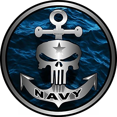 "ProSticker 1064 (One) 4"" Military Series Navy Skull Anchor Decal Sticker: Automotive"