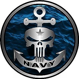 "ProSticker 1064 (One) 4"" Military Series Navy Skull Anchor Decal Sticker"