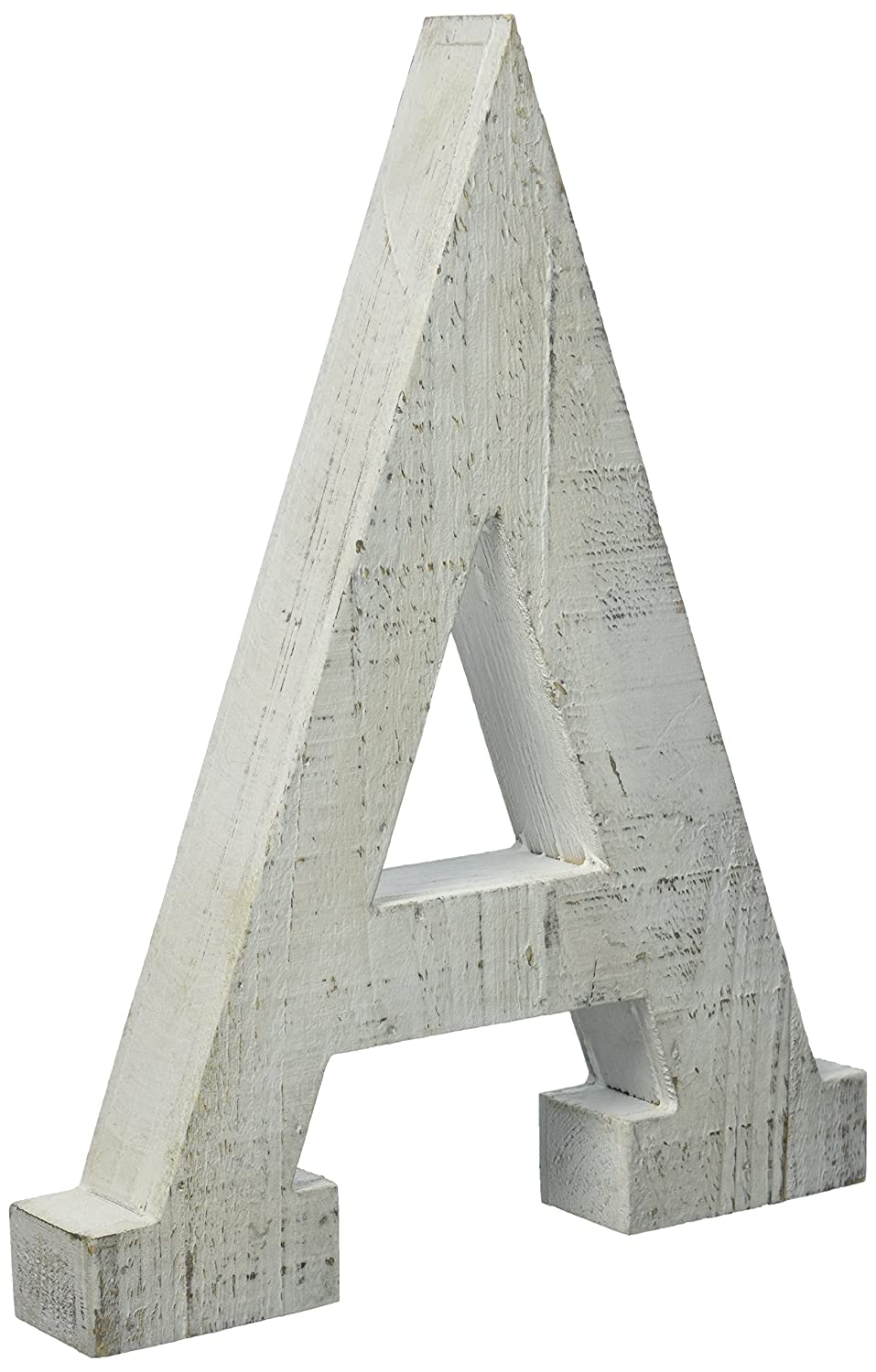 Adeco Wooden Hanging Wall Letters A - White Decorative Wall Letter of Living Room, Baby Name and Bedroom Decor, Whitewash Adeco Trading DN0052-A