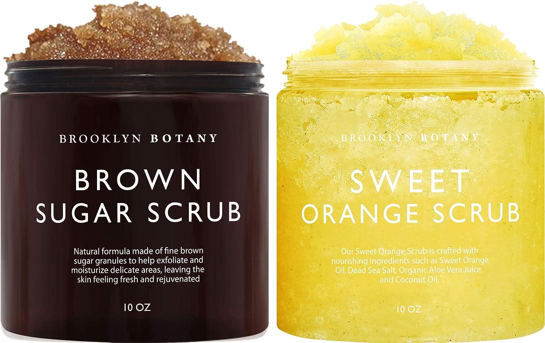 Brooklyn Botany Brown Sugar Body Scrub & Sweet Orange Body Scrub – Moisturizing and Exfoliating Body Scrubs – Anti Cellulite Scrub Helps Fight Cellulite, Acne Scars and Eczema – Gift for Women - 10 oz