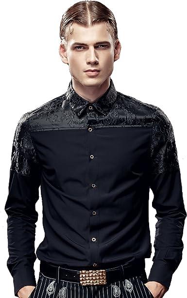 FANZHUAN Camisas Hombre Manga Larga Slim Fit Camisa Hombre Vestir Moda Entallada Informal