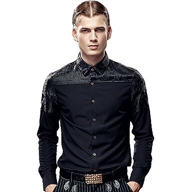fa2ac77335b2a FANZHUAN Camisas Slim Fit Hombre Black Camisas Hombre Vestir Manga Larga  Camisas para Traje Hombre  Amazon.es  Ropa y accesorios