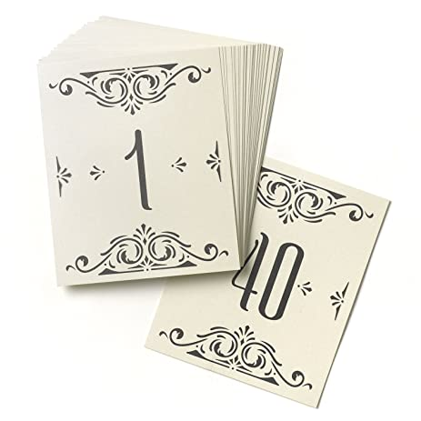 Hortense B Hewitt Wedding Accessories Glamour Table Cards Numbers 1 To 40