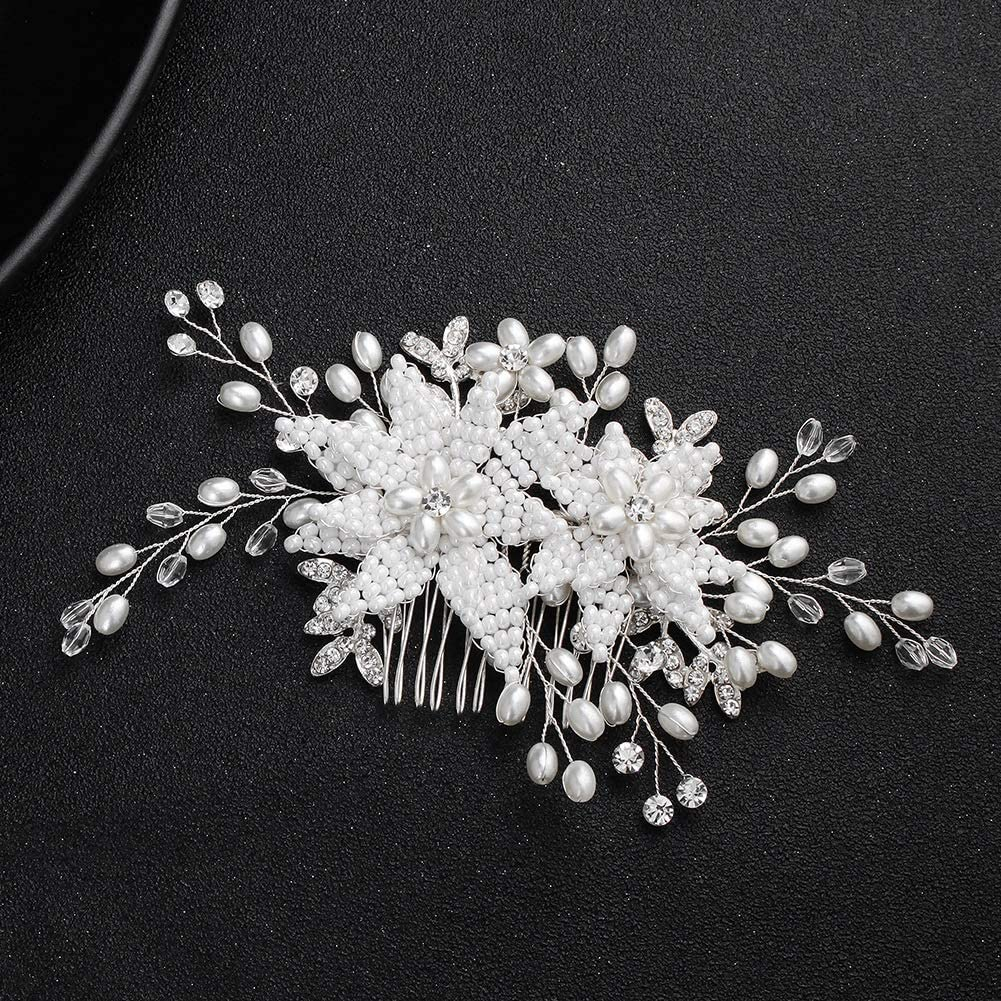 Amazon.com NEOART Handmade Pearl Flower Bridal Hair Comb Crystal ...