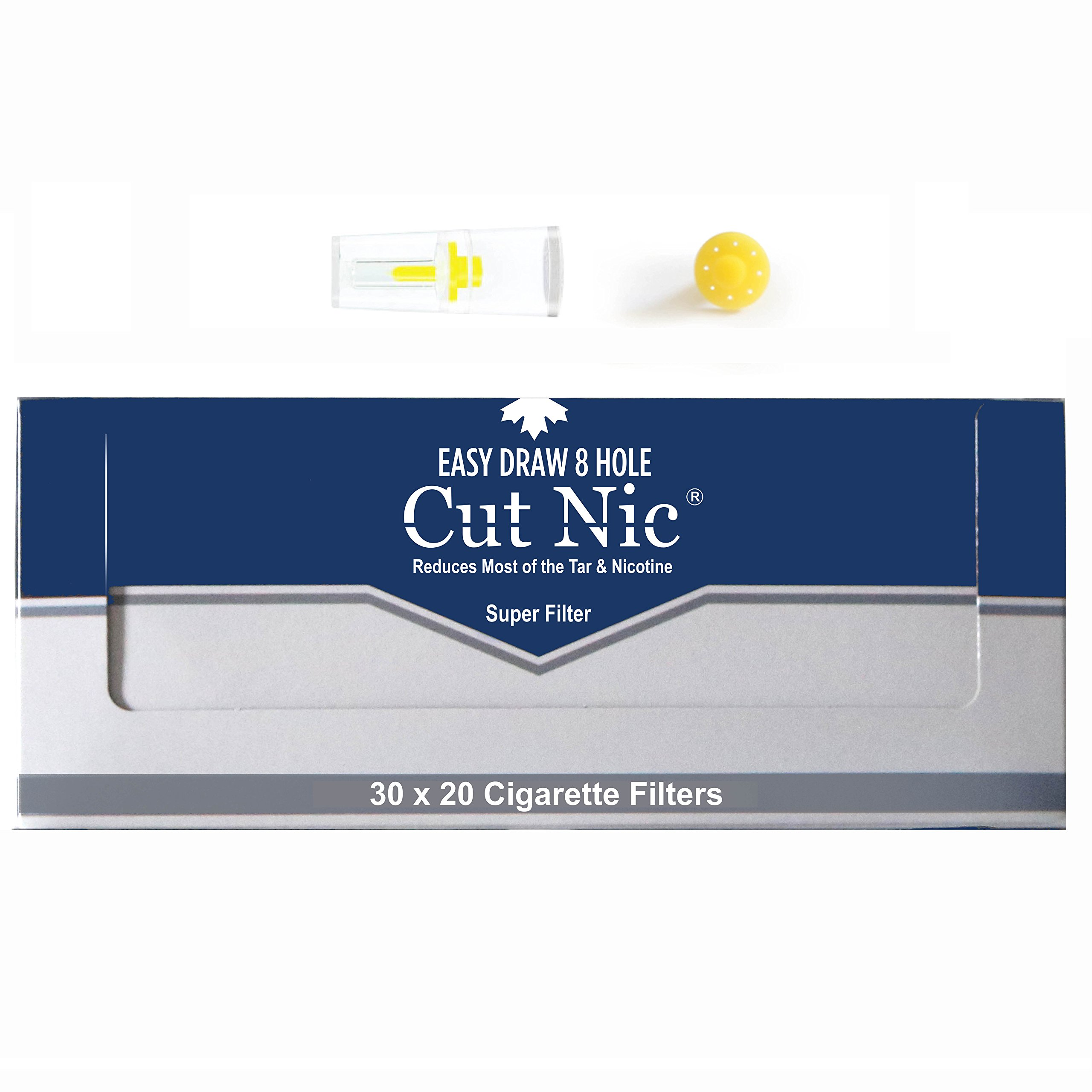 Cut-Nic 8 HOLE EASY DRAW Disposable Cigarette Filters 20 Packs (Total 600 Filters) In Display Box