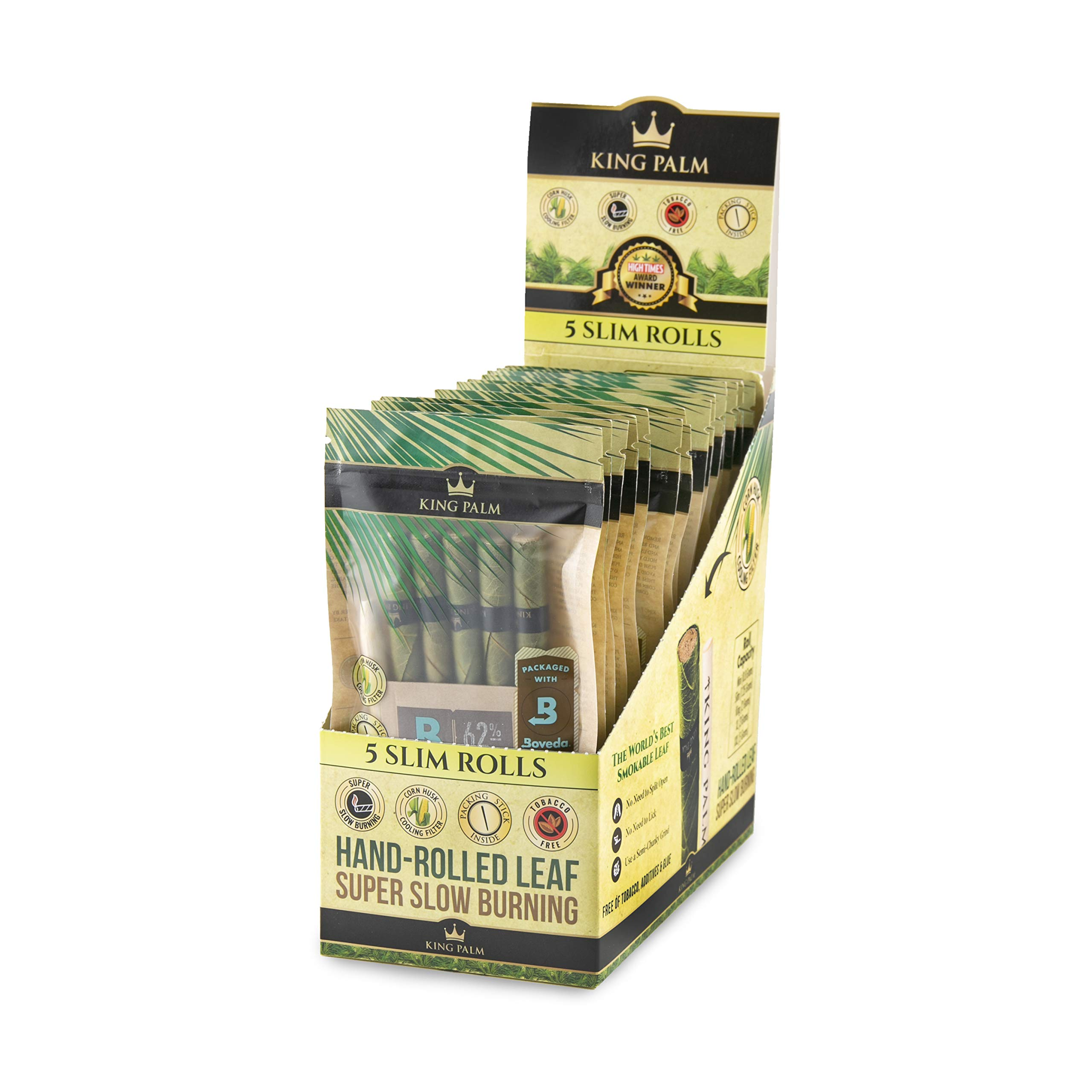 King Palm Hand Rolled Leaf Wrap Rolls - 5 Rolls/Pouch - 15 Pouch Display Box - (Slim) by King Palms