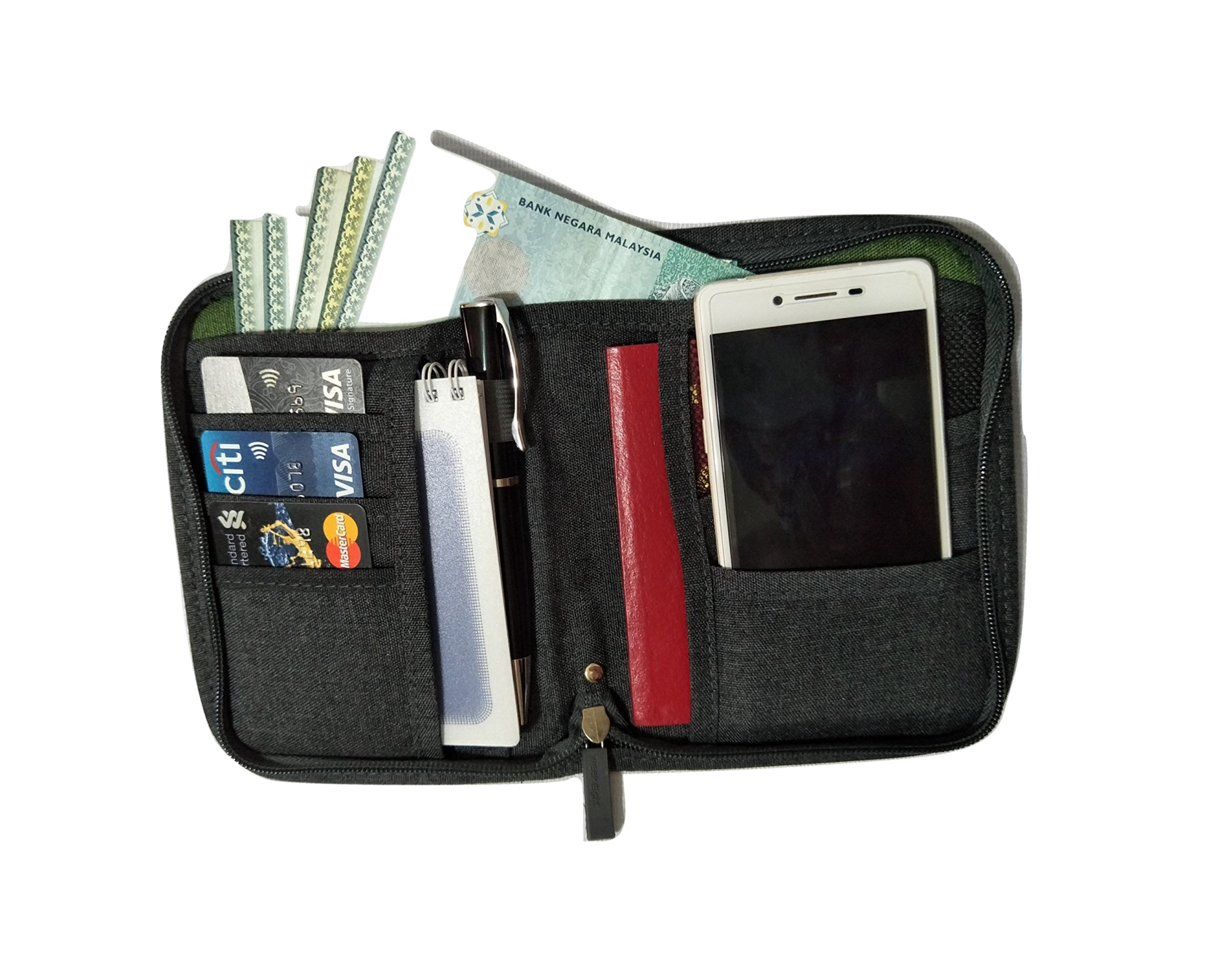 Travelus Travel Passport Wallet Organizer Provides All In One Passport Holder Case For Men & Women To Put Your Travel Documents – Passport, Boarding Pass, Credit Card, Cash, Pen & Cell Phone