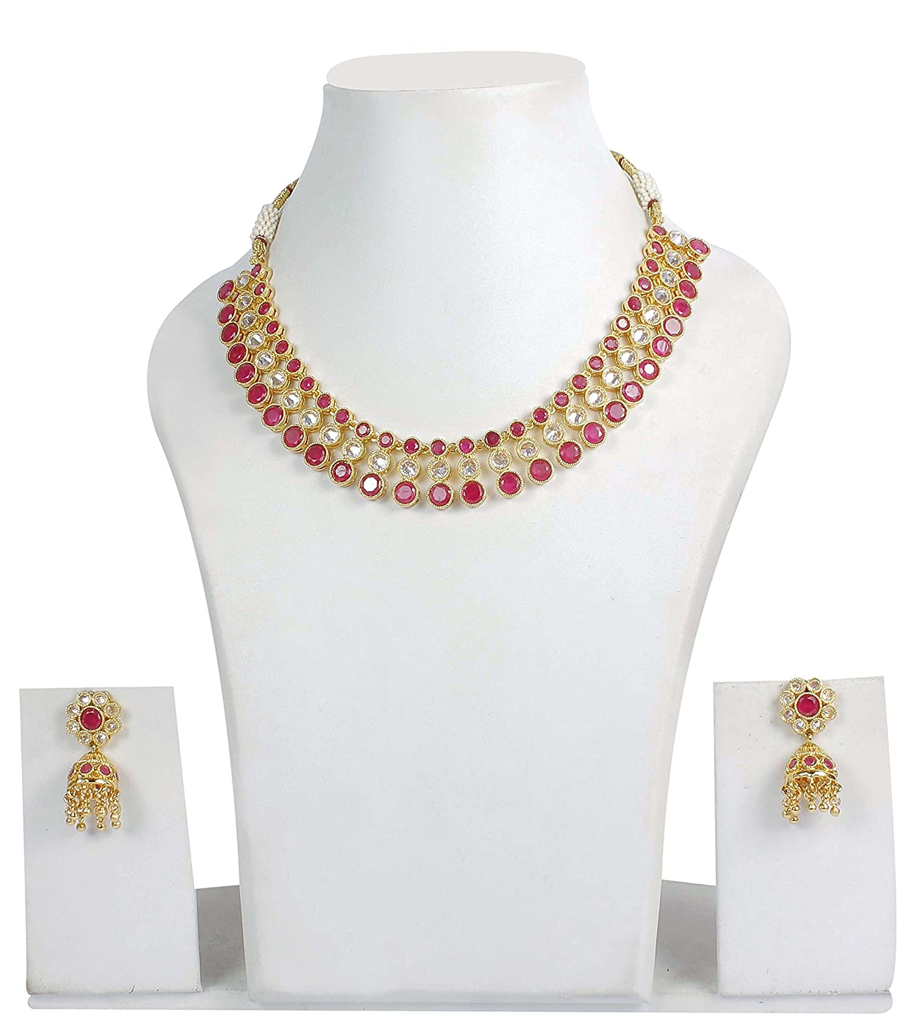 Buy MUCH MORE Gold Plated Ruby-White Stone made Necklace With ...