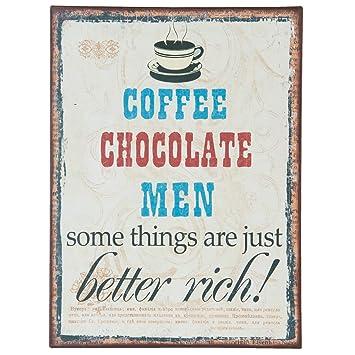 C & S Vintage Retro Cartel de Chapa, Coffee, Chocolate, Men ...