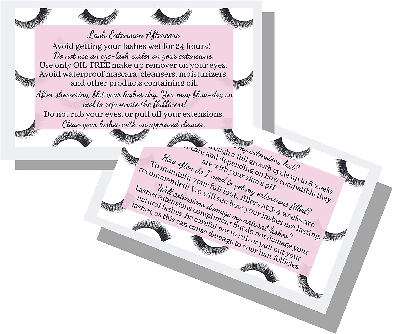 """Lash Extension Aftercare Instructions Business Cards   Package of 50   Lash Boss Pink Design Double Sided Size 3.5 x 2"""" inches After Care (3-4 Week Fillers)"""