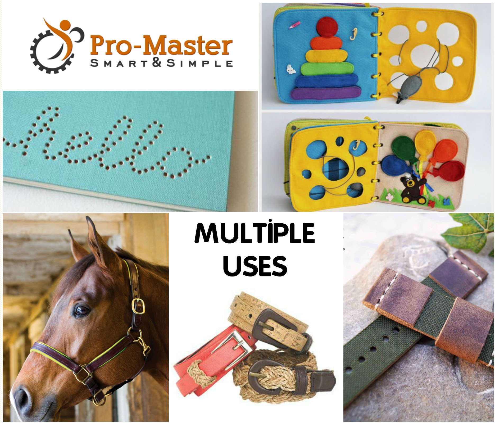 Best Leather Hole Punch Set for Belts, Watch Bands, Straps, Dog Collars, Saddles, Shoes, Fabric, DIY Home or Craft Projects. Super Heavy Duty Rotary Puncher, Multi Hole Sizes Maker Tool, 3 Yr Warranty by ProMaster (Image #9)