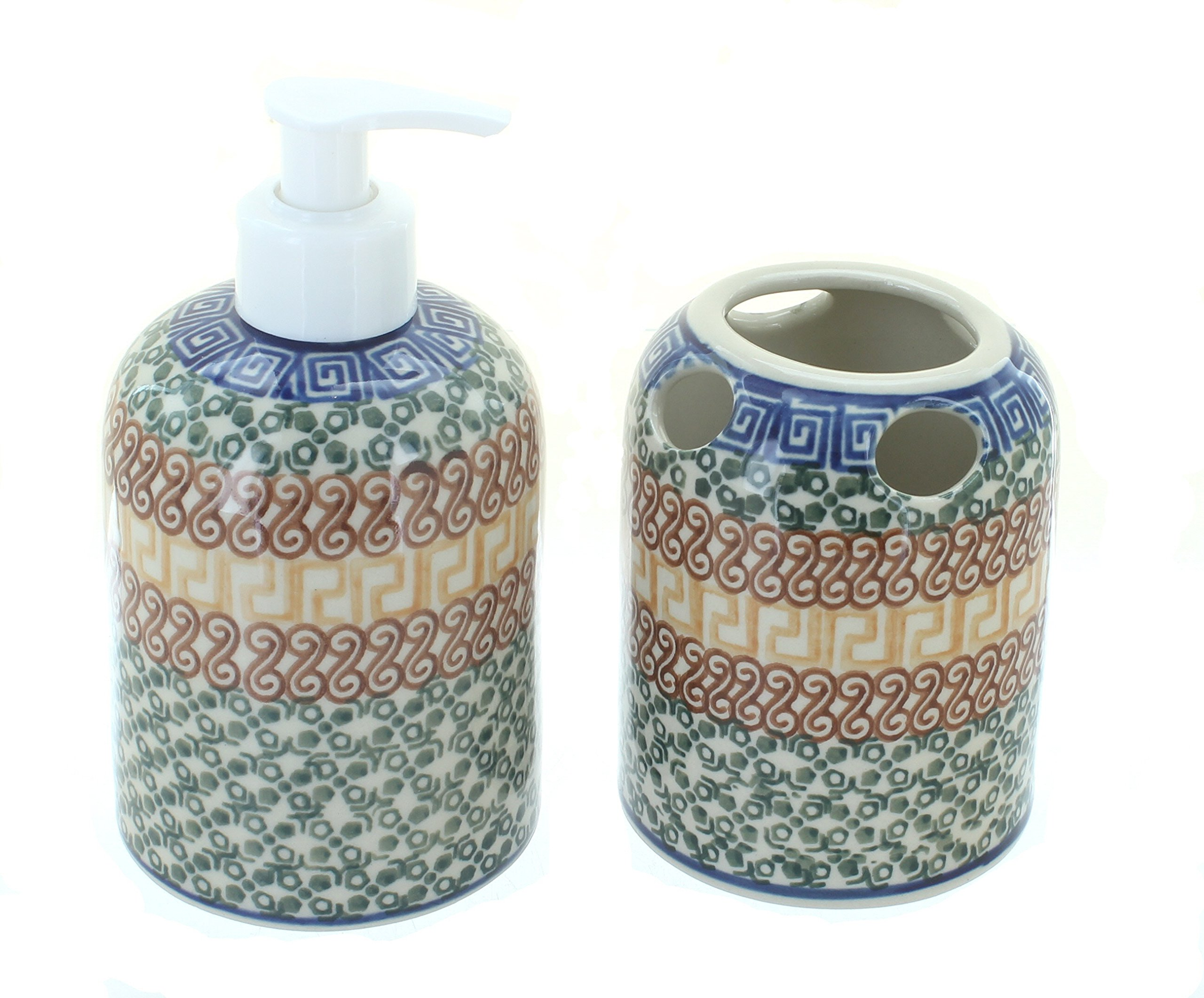 Blue Rose Polish Pottery Athena Soap Dispenser & Toothbrush Holder - Hand made in Poland Safe to use in microwave, dishwasher, freezer, oven No lead or cadmium - bathroom-accessory-sets, bathroom-accessories, bathroom - 81WlEKn9YwL -