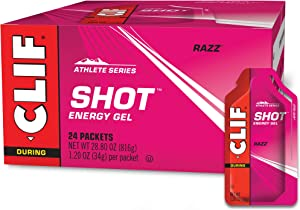 Clif Shot - Energy Gels - Razz - Non-GMO - Non-Caffienated - Fast Carbs for Energy - High Performance & Endurance - Fast Fuel for Cycling and Running (1.2 Ounce Packet, 24 Count)