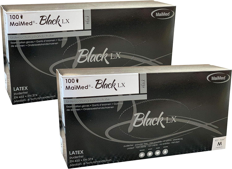 2 Boxen /à 100 St/ück MaiMed Latex Handschuh Gr/ö/ße M schwarz Einmalhandschuh 200 Handschuhe