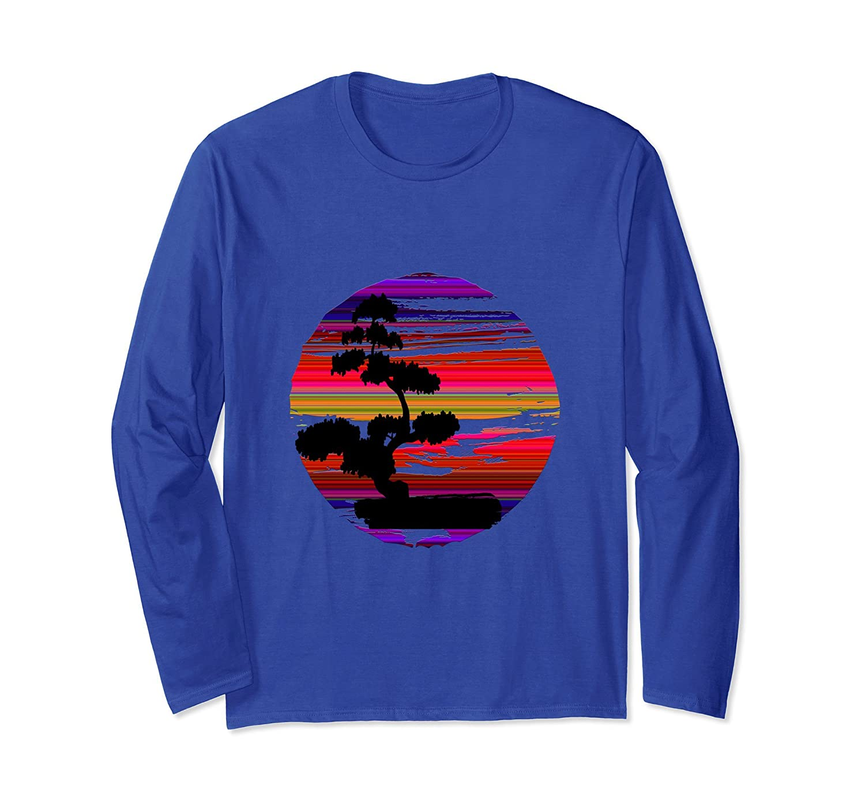 Japanese Bonsai Tree Multi Color Sun Long Sleeve T Shirt-ah my shirt one gift